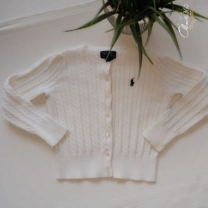 Ralph Lauren Polo Solid Cable Knit Cardigan Size 5